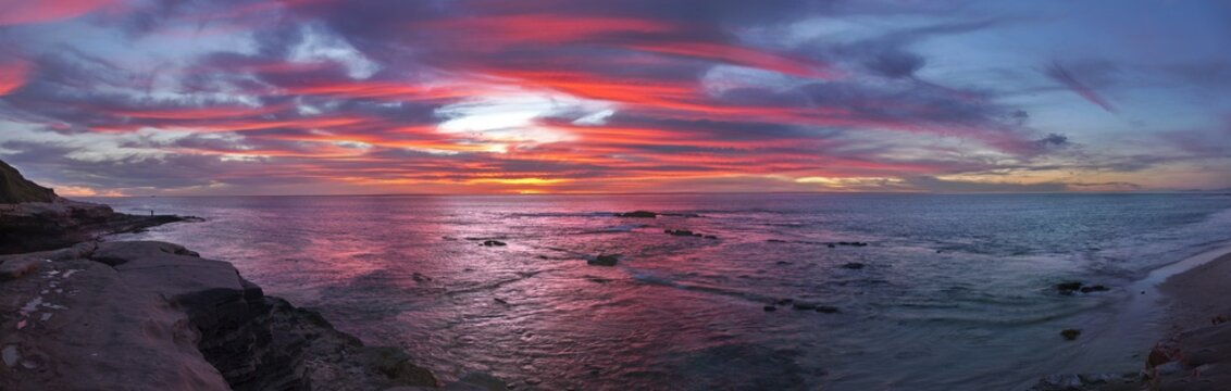 Sweeping Wide Panoramic Landscape Pacific Ocean Scenic View and Sunset Colors on Windansea Beach in La Jolla north of San Diego California