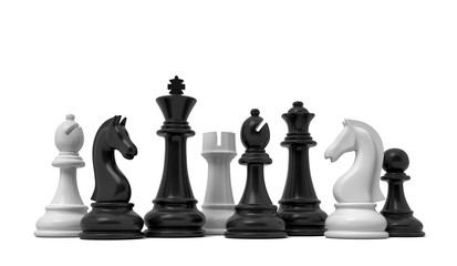 3d rendering of white and black chess pieces standing together isolated on a white background.