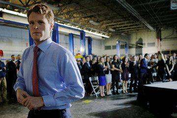 U.S. Rep. Joe Kennedy III (D-MA) leaves the stage after delivering the Democratic rebuttal to U.S. President Donald Trump's State of the Union address in Fall River