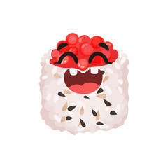 Cute smiling sushi character with caviar, roll with funny face cartoon vector Illustration
