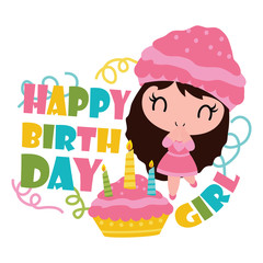 Cute cupcake girl with her birthday cake vector cartoon illustration for Happy Birthday card design, postcard, and wallpaper