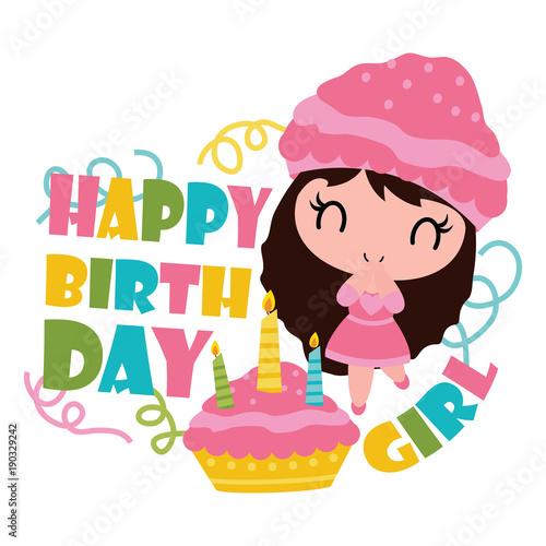 Cute Cupcake Girl With Her Birthday Cake Vector Cartoon Illustration For Happy Card Design