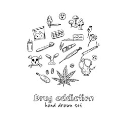 Hand drawn doodle drug addiction set.