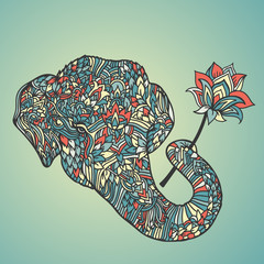 Portrait of an elephant with a lotus flower in asian style. Mandala pattern. Vector illustration.