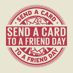 Send a Card to a Friend Day rubber stamp