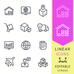 Logistics - line vector icon set. Editable stroke.