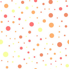Colorful polka dots seamless pattern on white 21 background. Bewitching classic colorful polka dots textile pattern. Seamless scattered confetti fall chaotic decor. Abstract vector illustration.