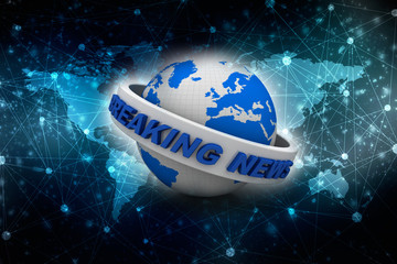 3d rendering newspaper, blog, publication Breaking News globe