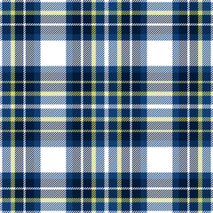 Blue, yellow and white plaid seamless pattern. Fabric texture. Vector background eps10