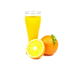 A glass of fresh orange juice and oranges on white background