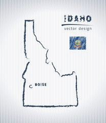Idaho vector chalk drawing map isolated on a white background