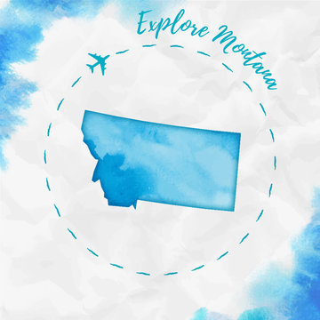 Montana watercolor us state map in turquoise colors. Explore Montana poster with airplane trace and handpainted watercolor Montana map on crumpled paper. Vector illustration.