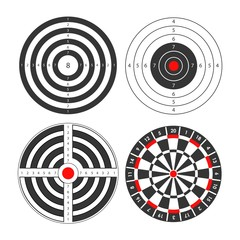 Shooting range targets vector icons template for darts and gun shoot aims