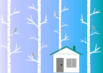 Cozy house among birch woods. Warm autumn season. Birds are sitting on a branch