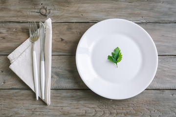 Empty plate with parsley leaf