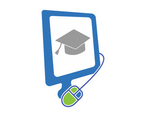 graduate scholarship education technology monitor computer laptop gadget technology image vector icon