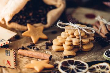 Tasty Gingerbread cookies, stars and flowers, food closeup