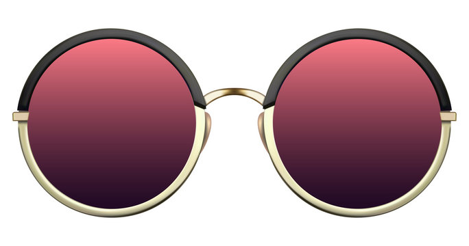 Sunglasses with red lens and gold metalic frame