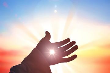 Jesus Christ saves human hands