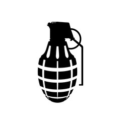 Black silhouette of hand grenade. Army explosive. Weapon icon. Military isolated object