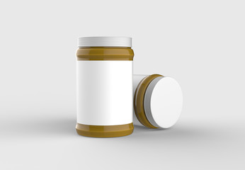Mustard jar mock up with white label isolated on soft gray background. 3D illustrating.