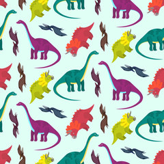 Cute cartoon multicolored dinosaurs seamless pattern for kids textile. Nice bright colorful childish texture with diplodocus, pterodactyl, triceratops for children textile, wrapping paper, background