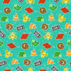 Cute kids seamless pattern with textured geometrical animals. Square elephant, rectangular raccoon, triangular fox in sticker style. Nice characters texture for textile, wrapping paper, cover