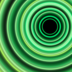 Green neon circles background. Abstract bright neon background.