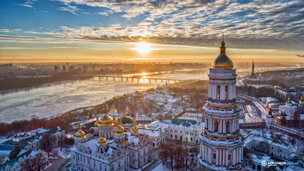 Wall Murals Kiev Orange sunset and cloud over cityscape Kiev, Ukraine, Europe