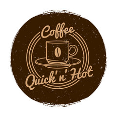 Vector cafe or coffee shop market label grunge style