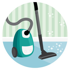 Vaccum house cleaning vector icon.