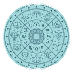 Grunge horoscope signs in astrology circle