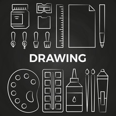 Hand drawn linear drawing stationery icons on chalkboard
