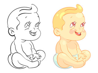 Cartoon baby coloring page with colorfull sample