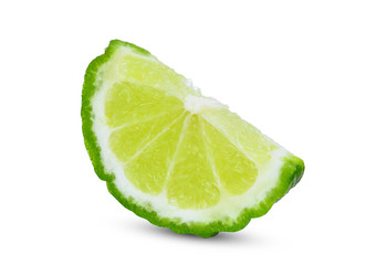 sliced fresh bergamot isolated on white background