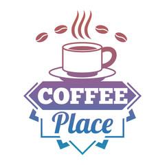 Bright vector coffee shop, cafe, market label