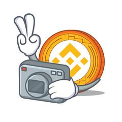 Photographer Binance coin mascot catoon