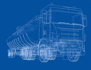Oil truck sketch illustration