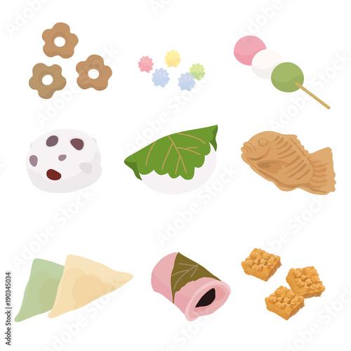 和菓子 イラスト セット Fotoliacom の ストック画像とロイヤリティ