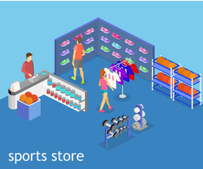 Isometric flat 3D vector interior goods for the sports shop.