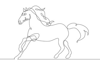 continuous line drawing horse
