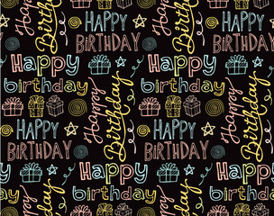 Happy birthday hand drawn doodle pattern