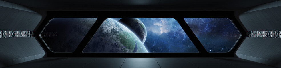 Fototapete - Spaceship futuristic interior with view on exoplanet