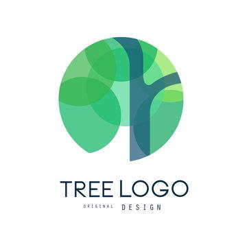 Green tree logo original design, green eco circle badge, abstract organic element vector illustration