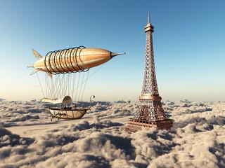 Fantasie Luftschiff und Eiffelturm über den Wolken