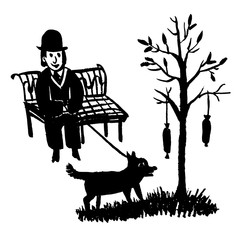 drawing picture of a man sitting on a park bench and walking a dog by a tree on which hanging sausages, a sketch, a hand-drawn doodle comic vector illustration
