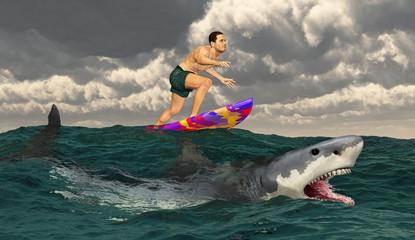 Surfer auf einem Surfbrett und weißer Hai