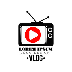 Original vector label with red play button on retro TV screen. Logo for your Youtube channel. Concept of web television. Simple flat icon with place for text.