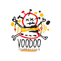 Creative colorful logo template with abstract head with needles for Voodoo magic shop. Spiritual or vodun magic concept. Hand drawn flat vector illustration