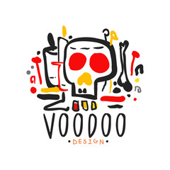 Original hand drawn Voodoo magic logo design template with mystic skull. Traditional religion and mystical culture. Colorful vector illustration
